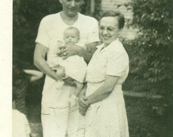 Happy Grandparents Grandpa Holding New Baby Girl Big Smile Black White Vintage Photo Photograph