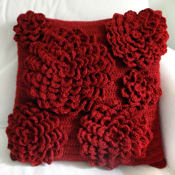 Free Crochet Patterns Flower Pillows : Multi Flower Pillow Cover PDF Crochet Pattern Instant