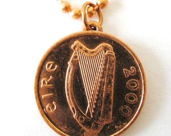 Authentic 2000 IRISH MILLENNIUM  Coin Necklace-1 penny Ireland Jewelry