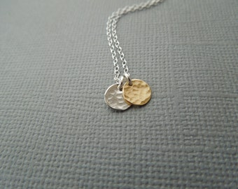 Tiny Necklace, Dainty Necklace, Gold and Silver, Mixed Metals, Two Discs, Medallions, Hammered Circles, Small Charms, Delicate  N154