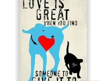Weimaraner and Dachshund Love Dog Art Print Wall Decor Inspirational Series