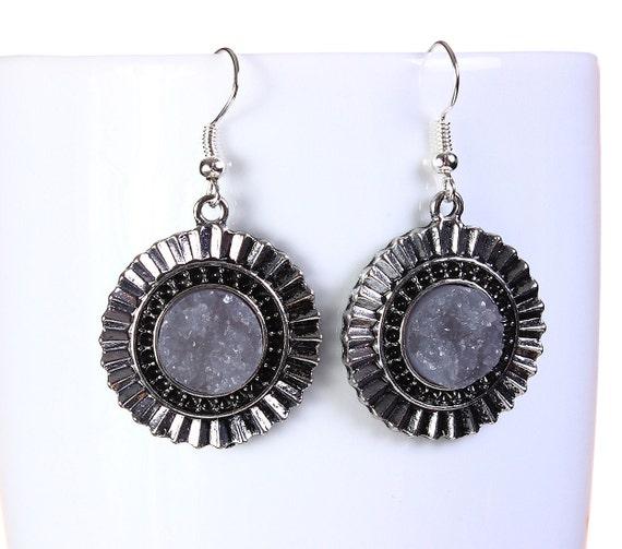 Antique silver grey faux dusy dangle earrings - Textured earrings - Faux Druzy earrings (800) earrings