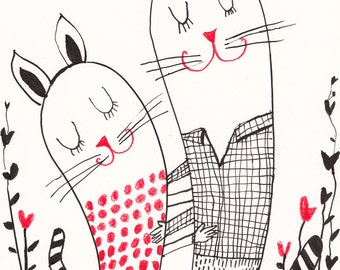 Dance of Love / ORIGINAL ILLUSTRATION / ink drawing / Love / Cute cats