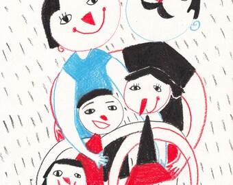 happy Family - ORIGINAL ILLUSTRATION -Children decor / kids art /  Primitive Drawing Original Art -Happy kids - blue red black