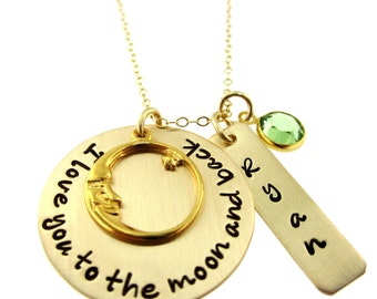 I Love You To the Moon and Back Personalized  Necklace with Name and Birthstone in 14K Gold Filled