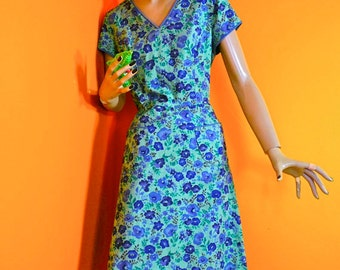 80s Does 50s House Dress - 1980s Brushed Cotton Dress (s-m)