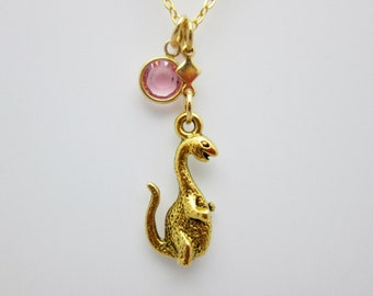 Dinosaur Necklace, Antique Gold Brontosaurus Dinosaur Charm with Pink Swarovski Crystal Drop B011
