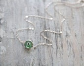 Evil Eye Necklace - Murano Glass and Sterling Silver -- GREEN