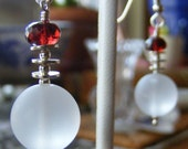 Just In Time - Almandine Garnet and Frosted Quartz Earrings