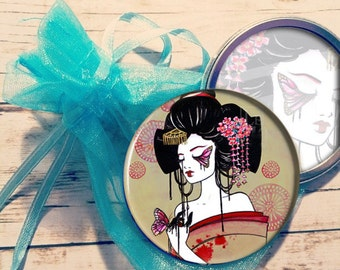 Pocket Mirror Madame Butterfly Geisha Art