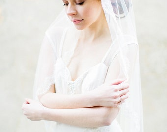 Mantilla Bridal Veil with French Chantilly Lace, Wedding Veil - Style 308