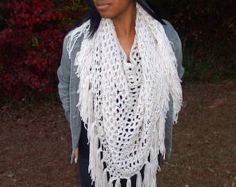 Hand Crochet Large Triangle Fringe Scarf in Lovey Linen