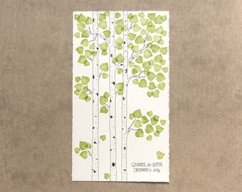 MODERN Wedding Tree Guest Book ASPEN / BIRCH Tree Original Drawing with PRESTAMPEd Leaves