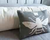 hand printed deep grey  linen little queen bee cushion