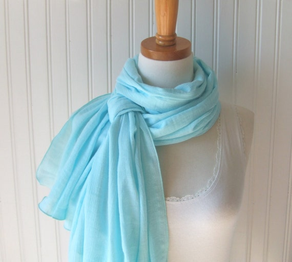 Cotton Gauze Scarf in Beach Glass Blue - Ethereal Women's Scarf, Spring and Summer Scarf