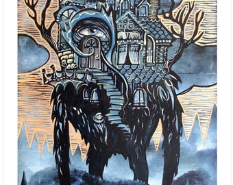 Tree House Monster, Art Print from Tree House Series 10x14 -Home Tree Home- by Buzz Parker