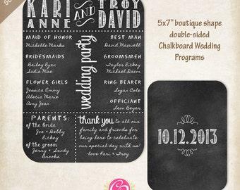 Boutique Chalkboard Wedding Programs - Set of 25