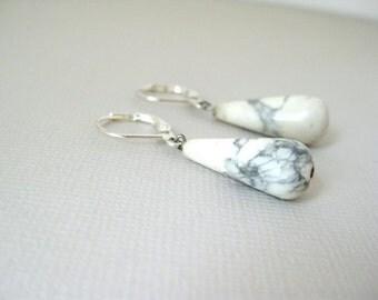 Smokey White Howlite Dangle Earrings - Leaverback - silver plated
