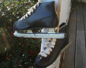 Vintage Boys Double Runner Black Ice Skates