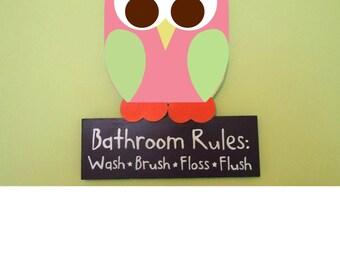 owl bathroom decor, bathroom rules, bathroom sign, owl room decor, owl wall decor, kid's owl bathroom, owl sign, children's bathroom