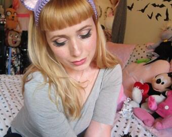 Purple Moon Kitty Headband Ear Warmer