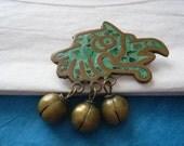 Tribal Bird Brooch Bells Copper Brass Turquoise
