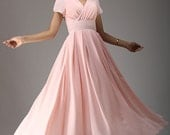 Pink maxi dress - long bridesmaid dress- woman maxi chiffon dress with petal sleeve - empire dress - evening dress - Handmade  (638)