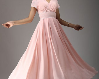 Pink wedding bridesmaid dress maxi chiffon dress  (638)
