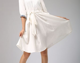 white linen dress with collar and elbow length sleeves, cute dress, short length dress, custom made, plus size dress (675)