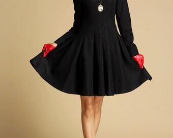 Robe longue noire laine