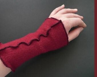 Red Arm Warmers from ECO Wool Jersey, BIO Wool Jersey Arm Warmers, Organic Wool Gauntlets, Organic Wool Wrist Warmers