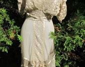 Edwardian c.1910 Gown Ecru Net Embroidered Lace Ribbon Bows & Pink Silk Roses Dress