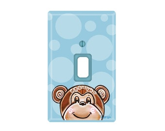 Monkey with Blue Switch Plate Cover