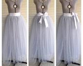 Floor Length/Tea LEngth Adult Slate grey/gray silver Tulle Tutu Skirt  Great Gatsby