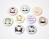 Kawaii Addams Family 1 inch Pins Button Badges (set of 9)