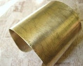 Large Etched Pure Brass Cuff Braclet - Maize