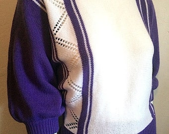 Vintage Women's 80's Sweater, Purple, White, Striped, Acrylic, Dolman Sleeve (S/M)