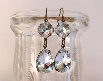 Classic Bridal Earrings Double Drop Crystal Rhinestones Retro Vintage Czech Glass