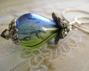 Dandelion Seed Heaven & Earth Spiritual Ombre Blue Green Glass Teardrop Terrarium Reliquary-Symbolizes Happiness-Gifts Under 35