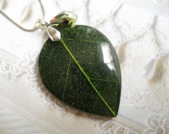 Shimmering Green Skeleton Leaf Resin Teardrop Pendant-Woodsy, Earthy-Gifts Under 30-Nature's Art-Symbolizes Peace,Tranquility, Serenity