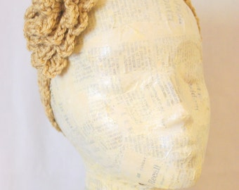 Khaki Crocheted Flower Headband