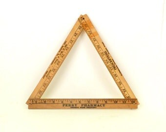 Vintage Advertising Ruler -  Vintage tools Folding ruler Yardstick triangle Collectibles Industrial design Natural wood  brown - G 36 x 1.25