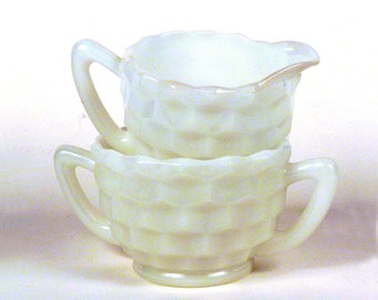 Vintage Cream and Sugar Set 50s - Vintage Milk Glass Set for Coffee - Serving home decor - inside 8.5 x 10.5