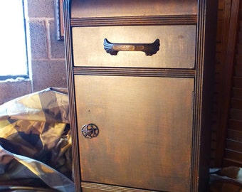 HEY Handsome...Deco Bedside Table Old West Vintage Industrial Poppy Cottage Paint to Order Painted Furniture