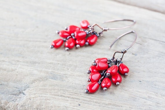 Coral Red Earrings - Organic Wire Wrapped Glass Bead Berries Cluster, Geometric Earwires - Artisan copper wirework jewelry, nature inspired