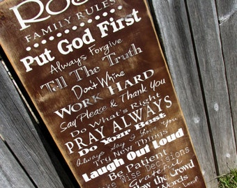 Christian Family Rules, House Rules, Personalized for your family