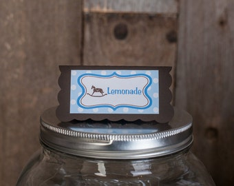 Blue Rocking Horse Theme Food Tents - Menu Cards - Place Cards - Food Signs - Rocking Horse Baby Shower Decorations in Blue and Brown (6)