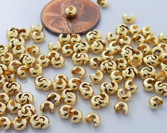 3mm Gold Plated Brass Crimp Bead Covers 50