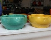 """Garden City Pottery planter Art Bowl Turquoise 7"""" California Bulb Bowl Ruffled Jade VINTAGE by Plantdreaming"""