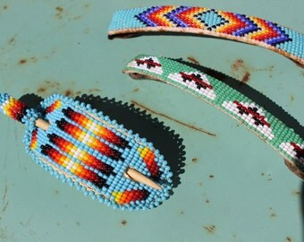 1970 Native made Seed Bead Barrette hair VINTAGE by Plantdreaming